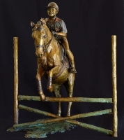Boy on jumping pony