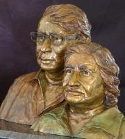 Portrait bust of Mr and Mrs Bhagwandeen