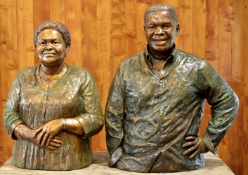 Portrait busts of Mr and Mrs Shongwe